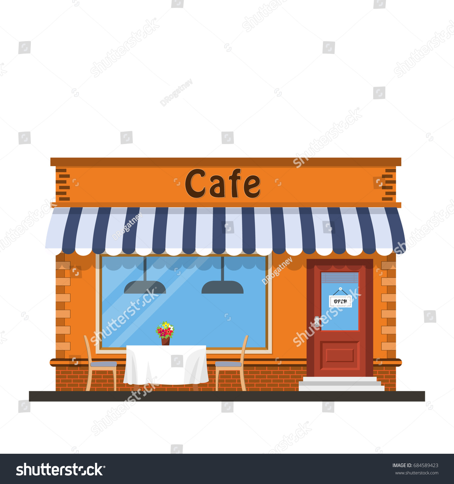 Vector De Stock Libre De Regalias Sobre Cafe Shop Exterior Street Restraunt Building684589423