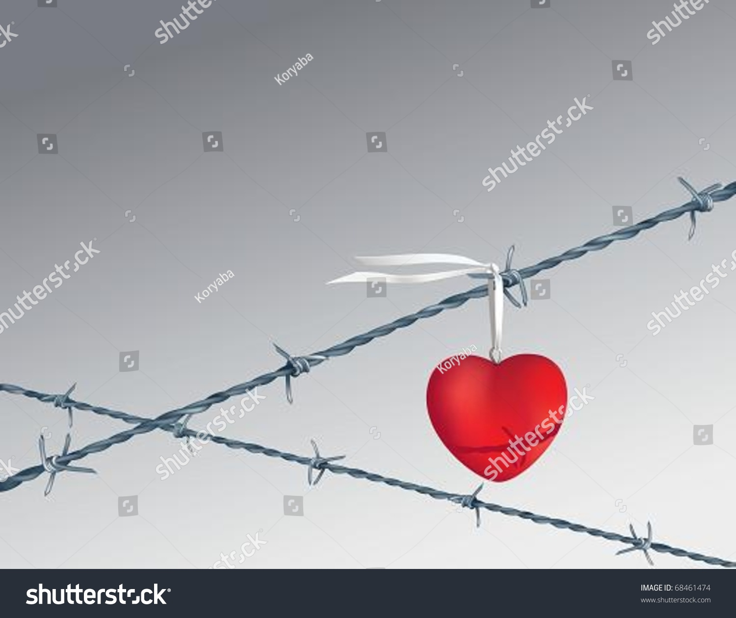 Heart On Barbed Wire Vector Illustration Stock Vector 68461474 ...