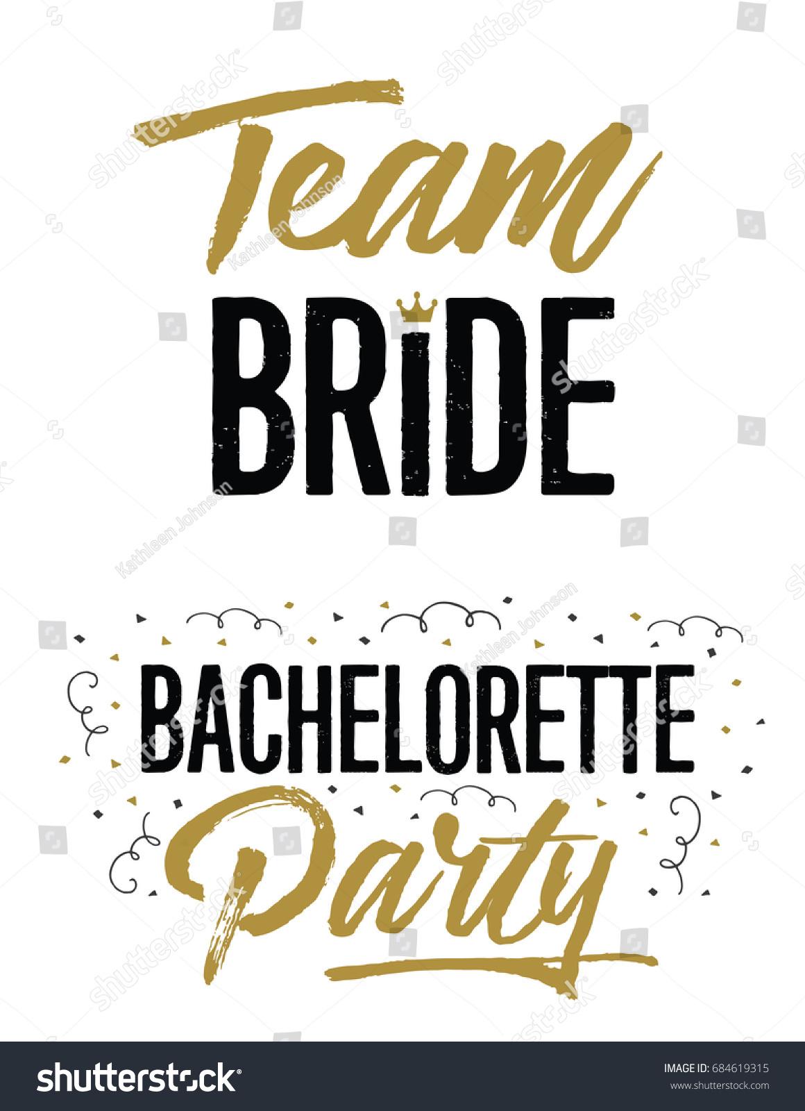 Team Bride Bachelorette Party Wedding Lettering Stock Vector ...