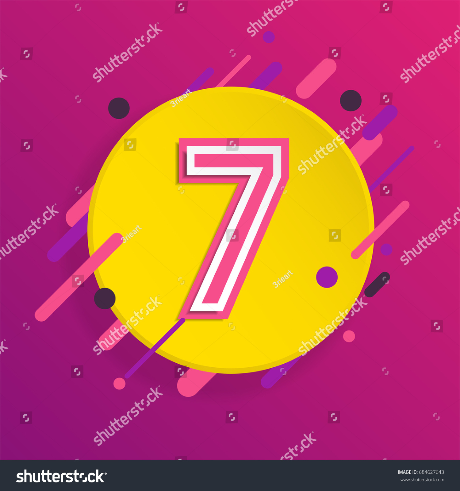 Stylized Abstract Number 7 Abstract Number Stock Vector 684627643 ...