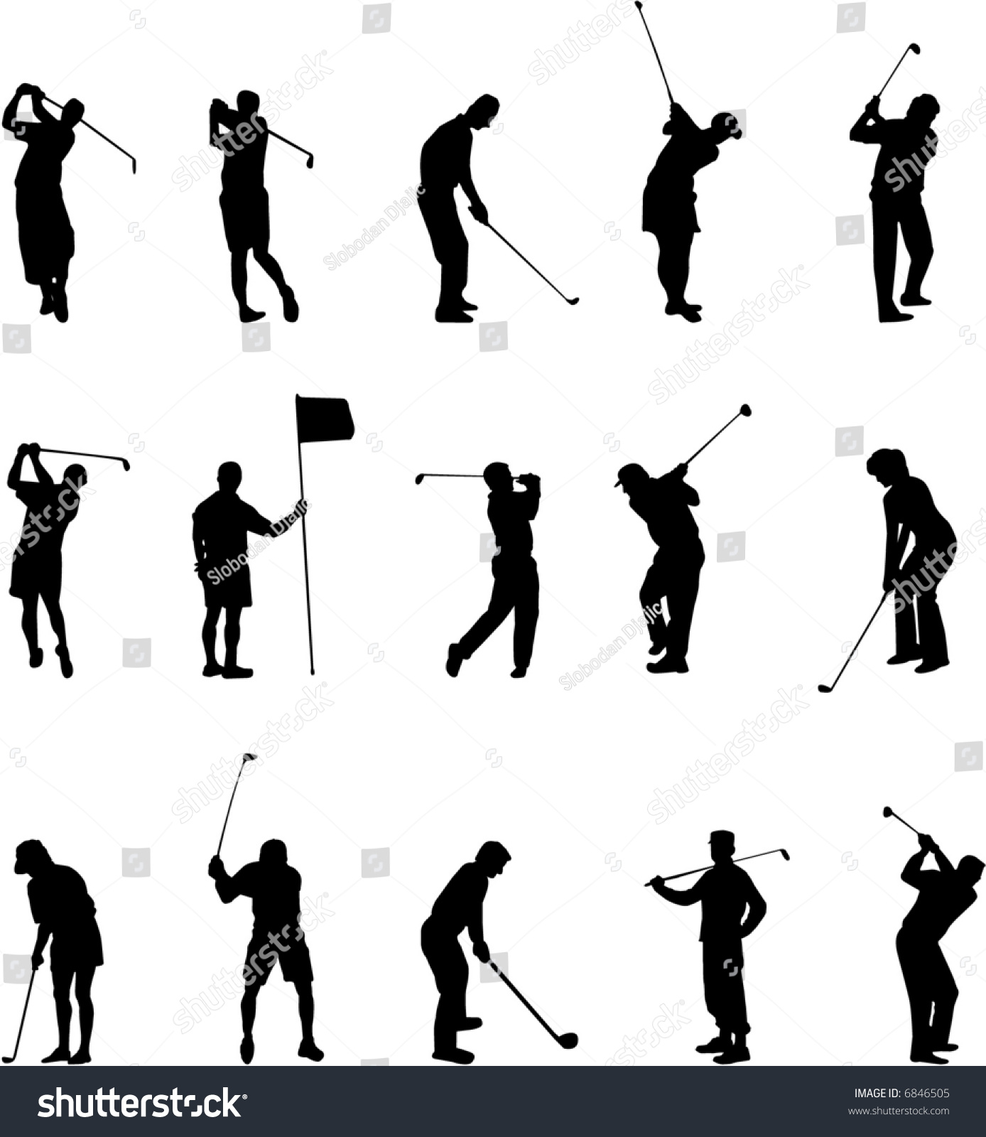 Golf Silhouettes Stock Vector Royalty Free 6846505 Shutterstock