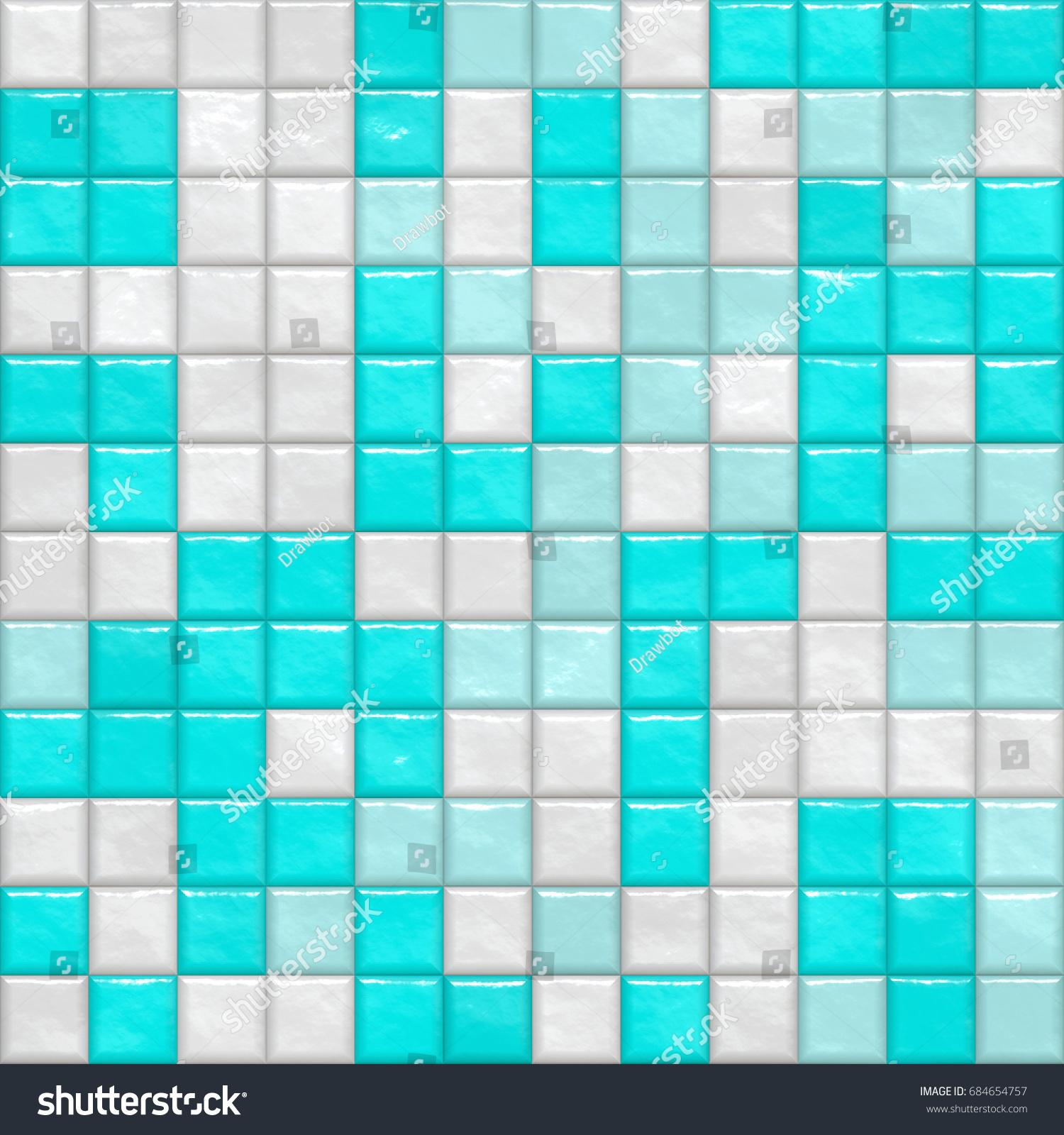 Closeup Colorful Bathroom Pool Ceramic Tiles Stock Illustration ...