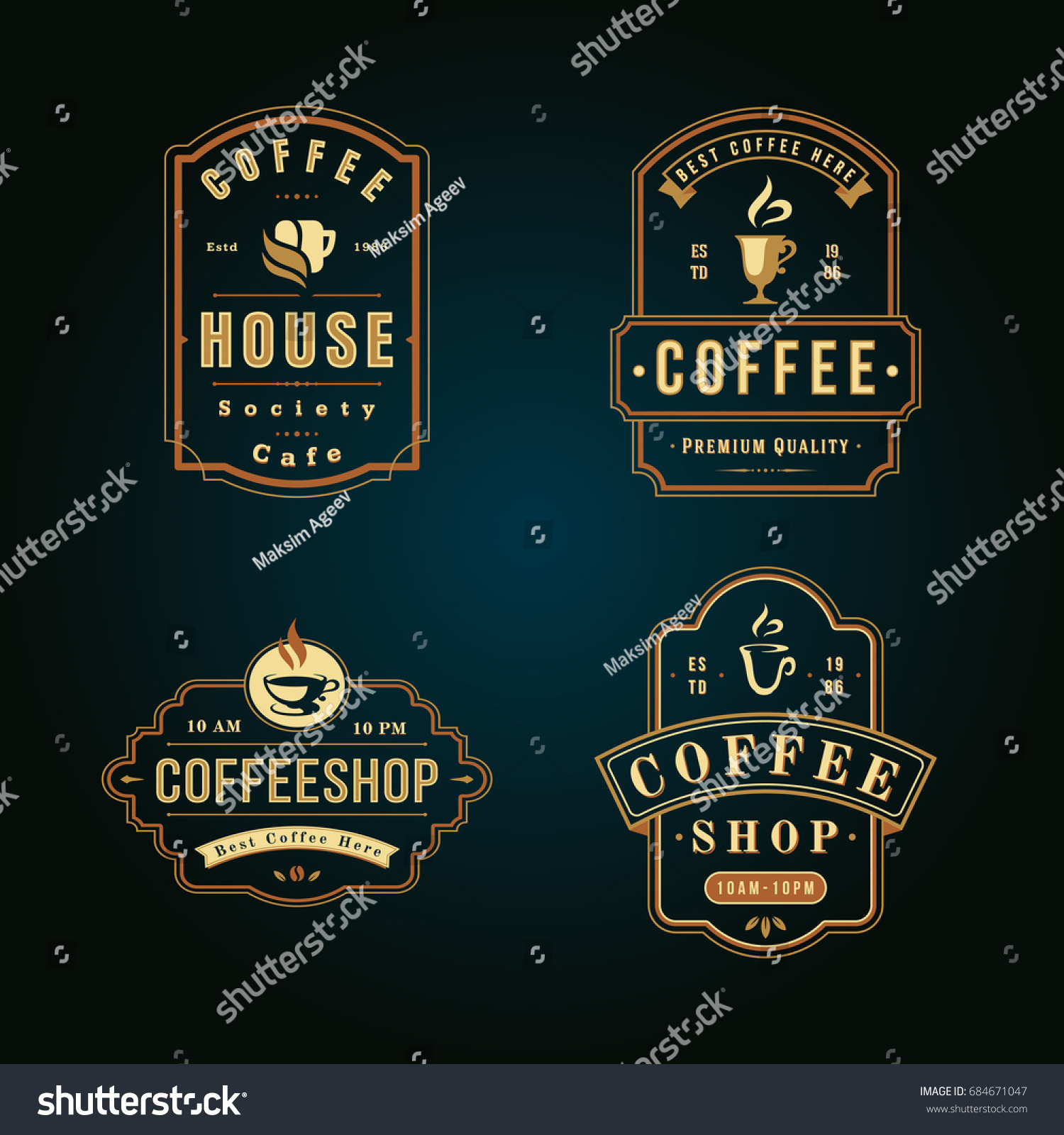 Vector De Stock Libre De Regalias Sobre Colorful Coffee Shop Logo Design Element684671047