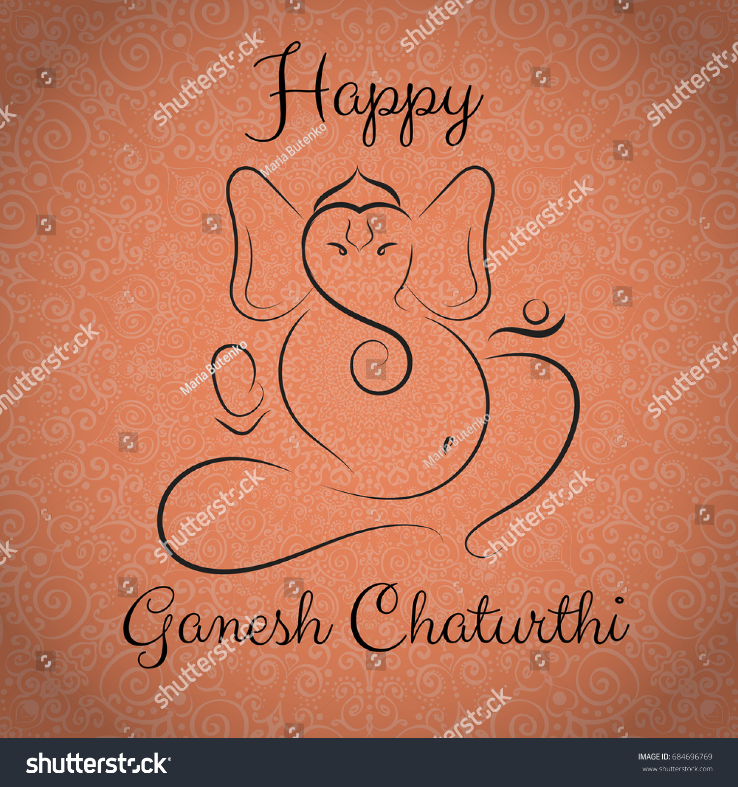 Ganesh Chaturthi Festival Greeting Card Template Stock Vector