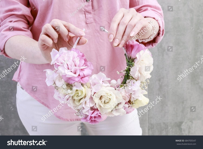 Florist work how make flower crown stock photo edit now 684705547 florist at work how to make flower crown with roses eustoma lisianthus izmirmasajfo