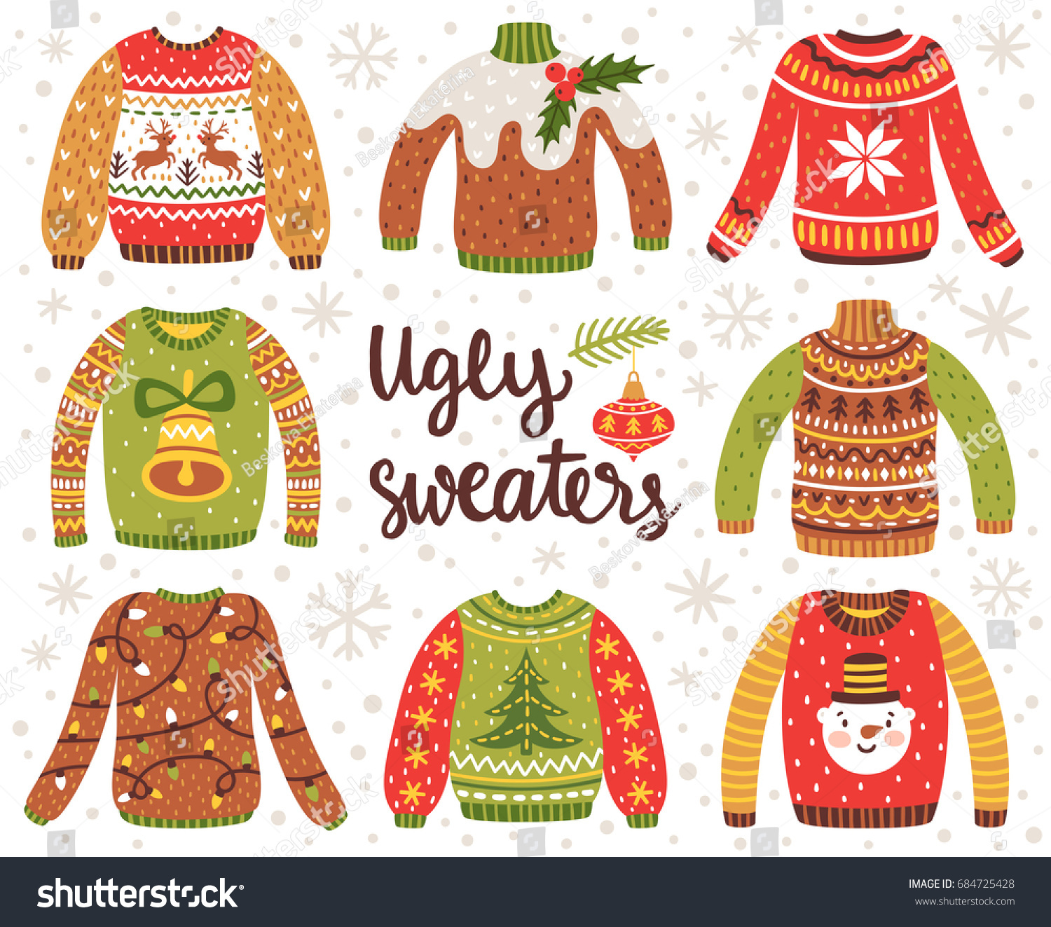Vector Set Ugly Christmas Sweaters Norwegian Stock Vector (Royalty ...