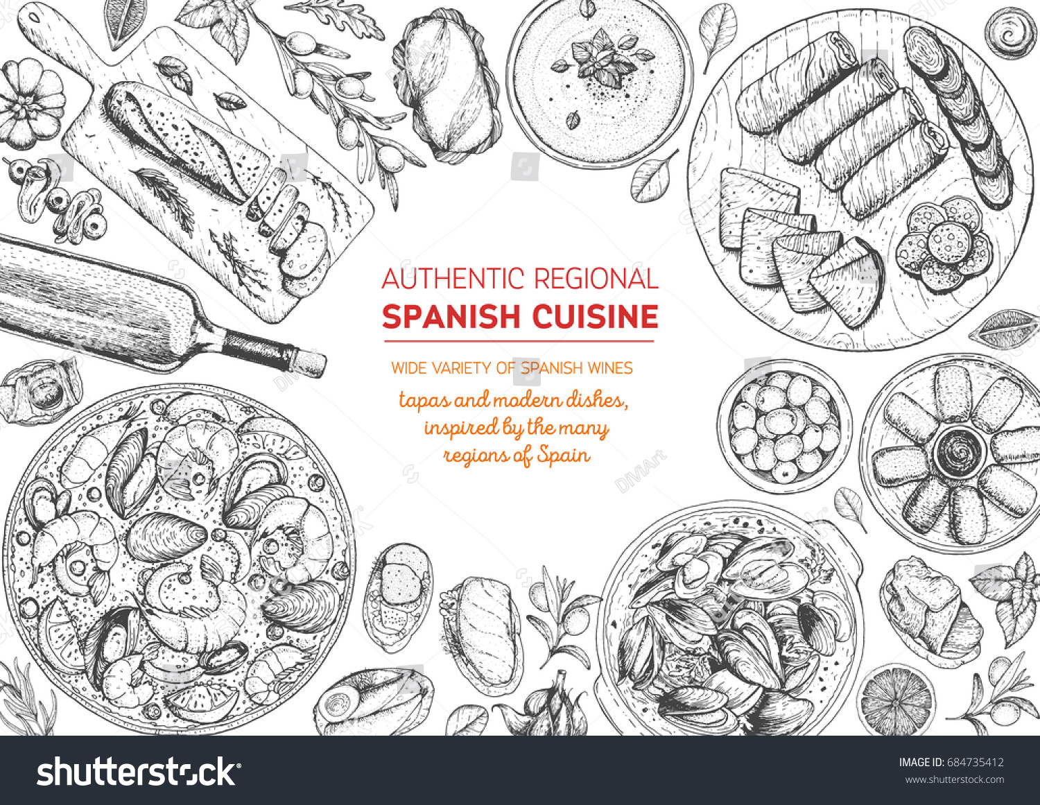 Spanish Cuisine Top View Frame Set Stock Vector (Royalty Free ...