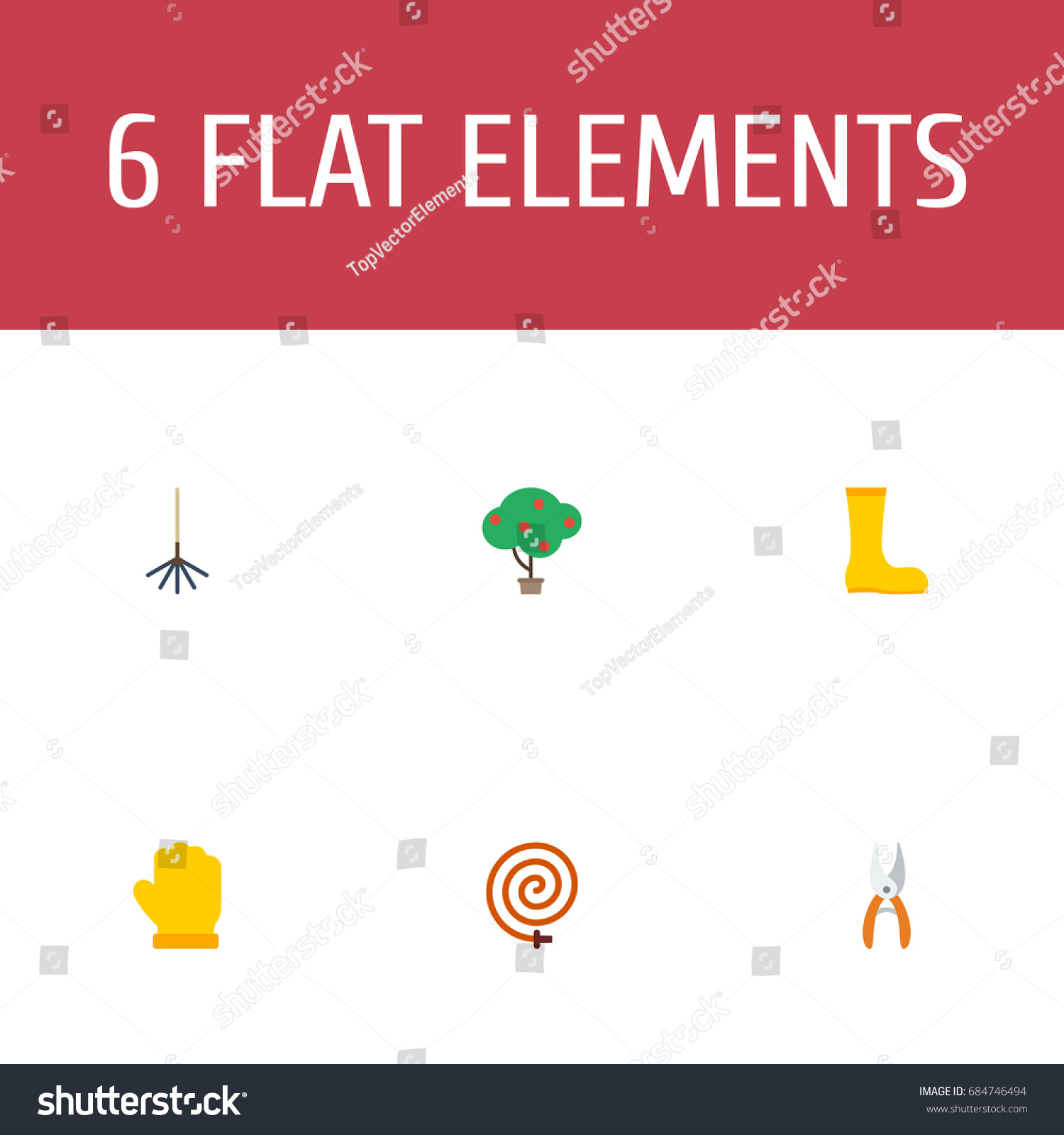 Flat icons pruner latex rake other stock vector 684746494 flat icons pruner latex rake and other vector elements set of horticulture flat biocorpaavc