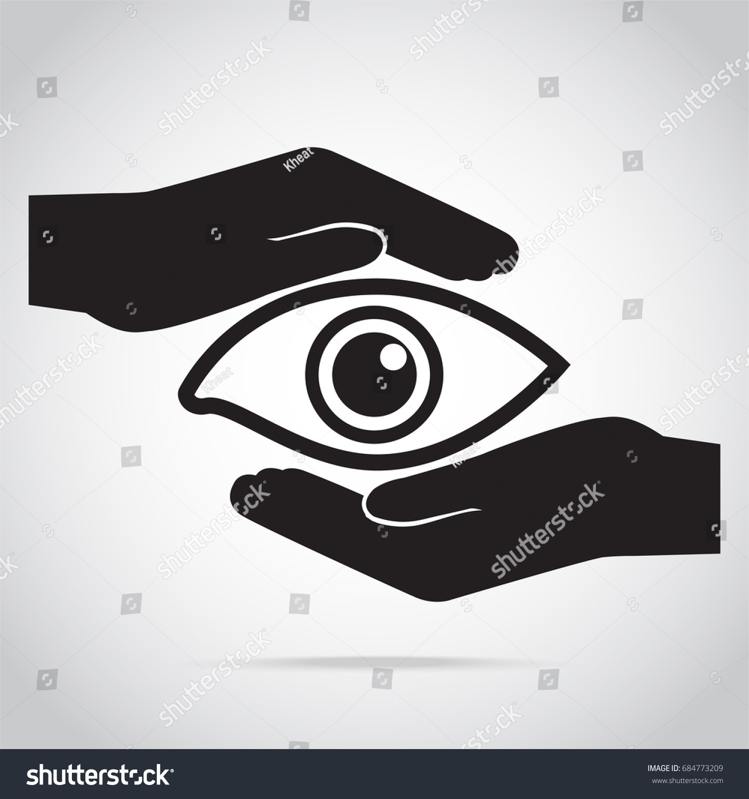 Eye Hand Protection Icon Eye Care Stock Vector Royalty Free