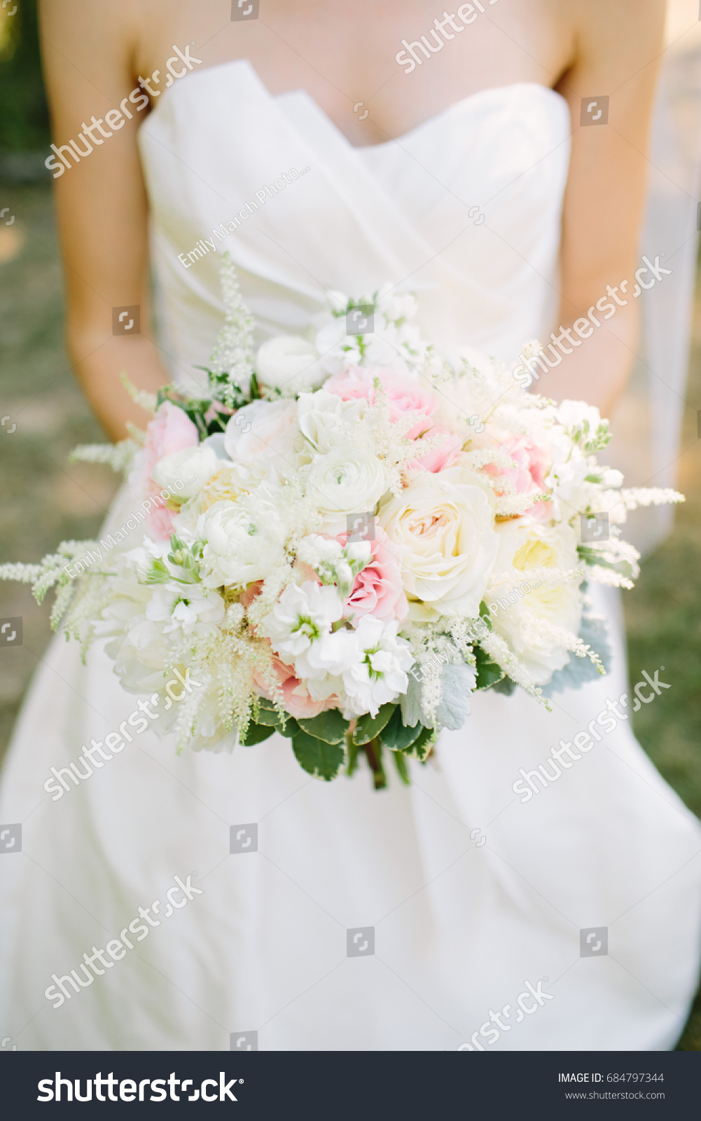 Bride Holding Pink White Wedding Bouquet Stock Photo (Safe to Use ...