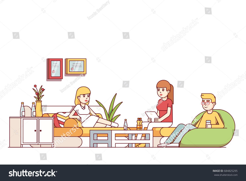 Man Sitting Sofa Living Room