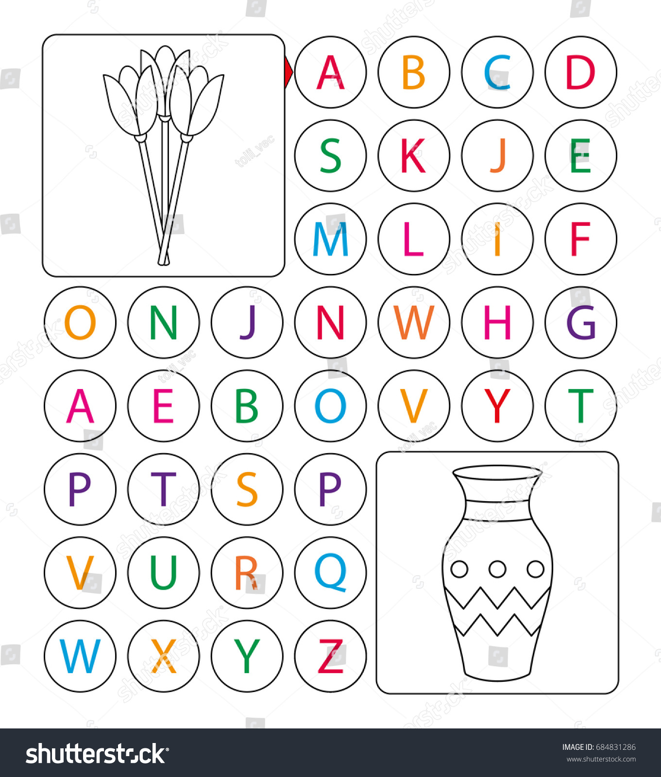 alphabetic labyrinth puzzle worksheet learning letters stock