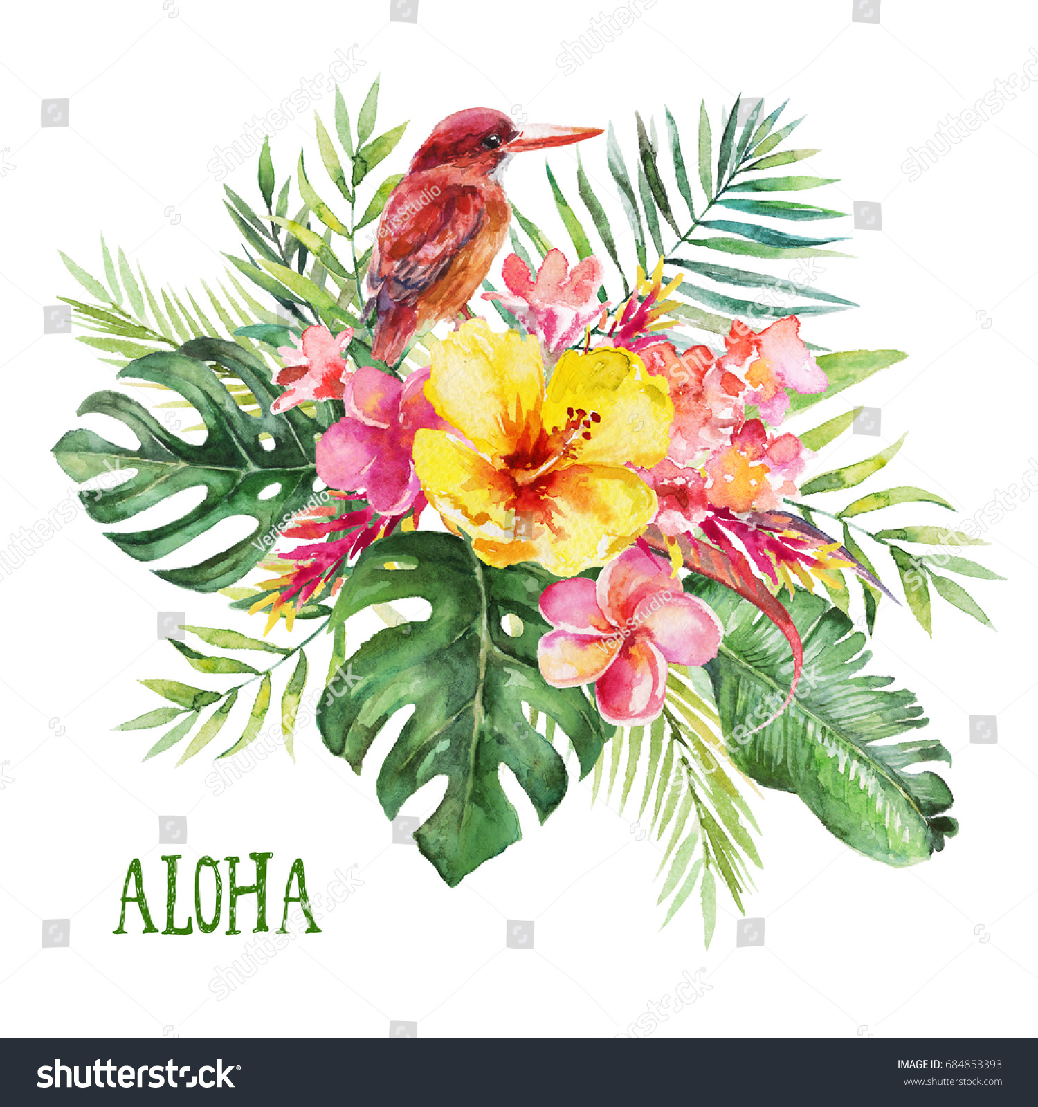 Watercolor tropical floral bird illustration - flower bouquet with ...