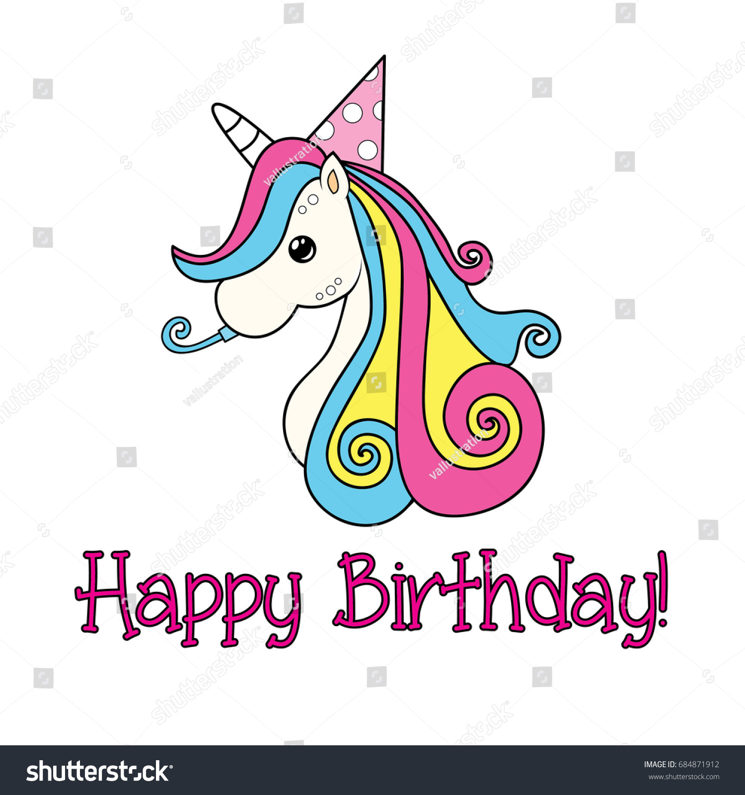 Unicorn Happy Birthday Greetings Stock Vector Royalty Free