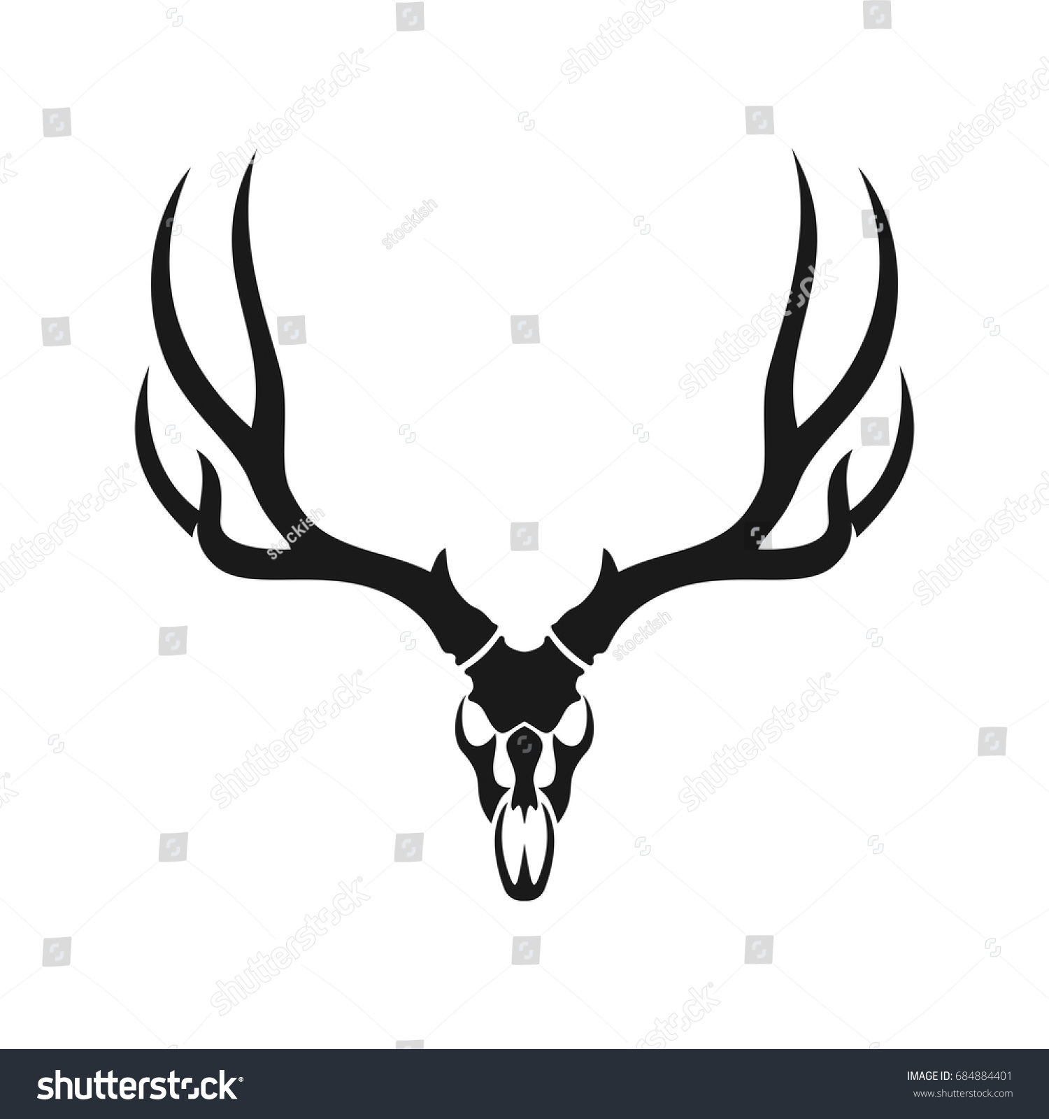 deer skull head vector logo stock vector 684884401 shutterstock rh shutterstock com deer head outline logo deer head logo clothing