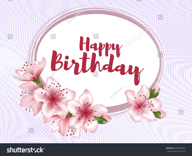 happy birthday flowers greeting card template のベクター画像素材
