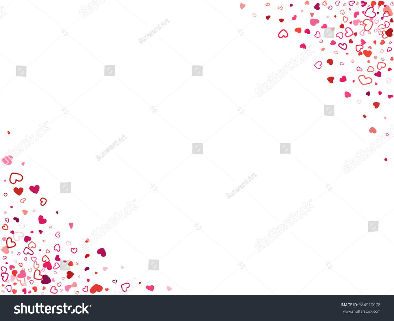 wedding invitation card corners template vector heart confetti border with place for text