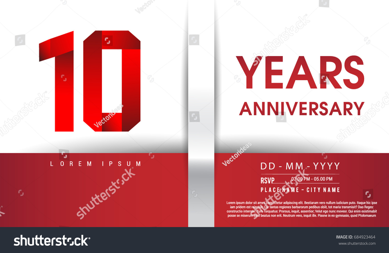10th Years Anniversary Celebration Logo Flat Stock Vector (Royalty ...
