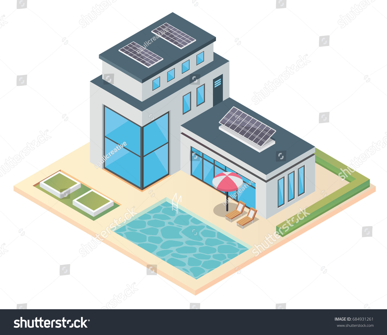 Modern Luxury Isometric Green Eco Friendly Stock Vector Royalty Solar Panel Diagrams House With Suitable For Infographics