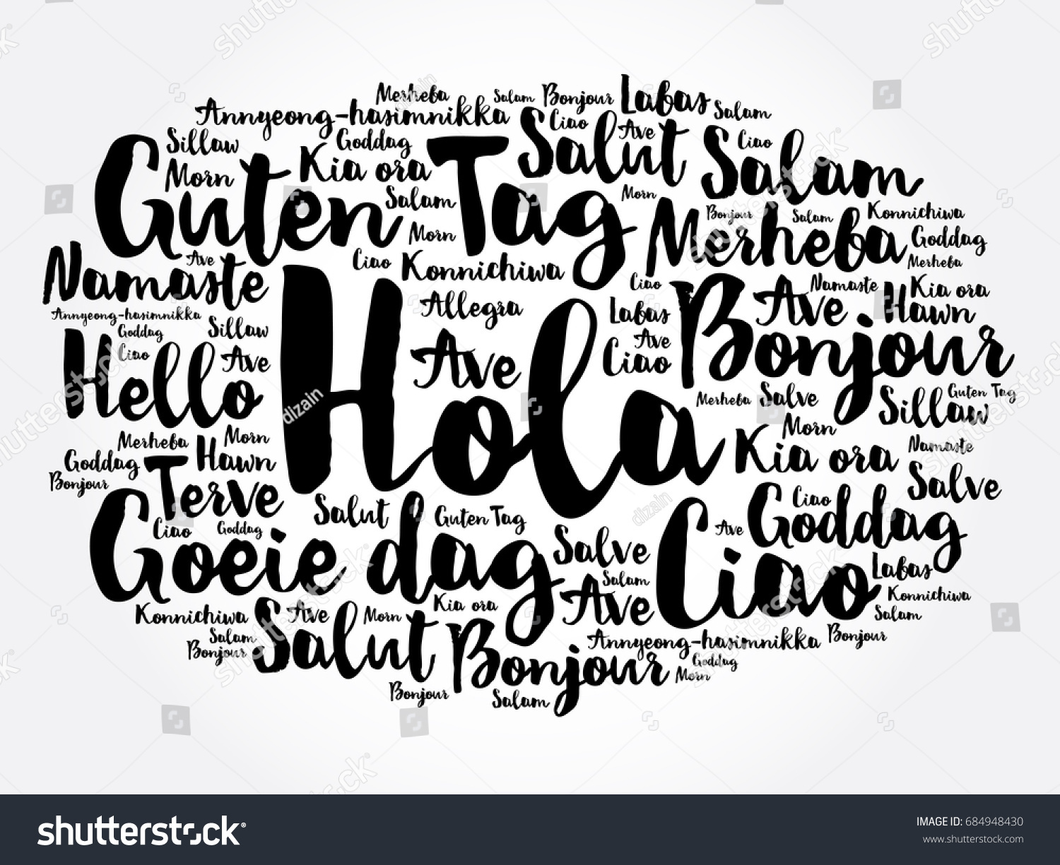 Hola hello greeting spanish word cloud stock vector 684948430 hola hello greeting in spanish word cloud in different languages of the world kristyandbryce Image collections