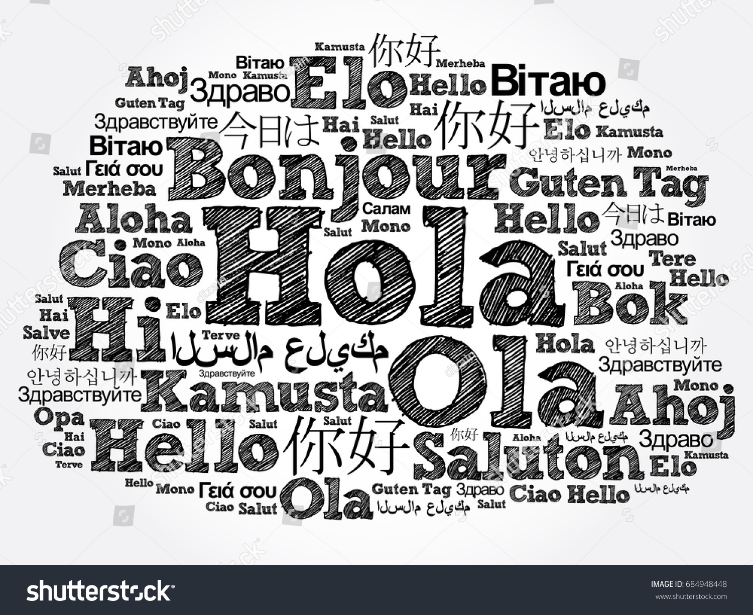 Hola hello greeting spanish word cloud stock illustration hola hello greeting in spanish word cloud in different languages of the world kristyandbryce Image collections