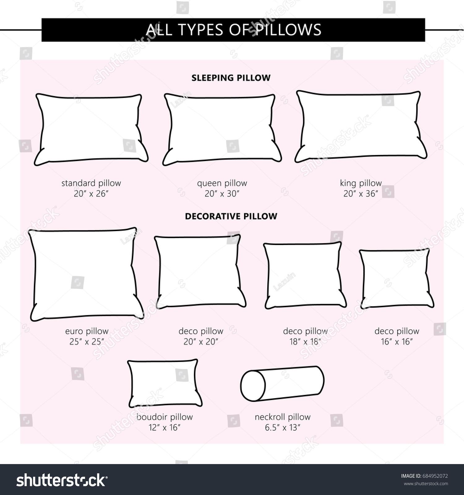 All Types Pillows Vector Set Pillows Stock Vector