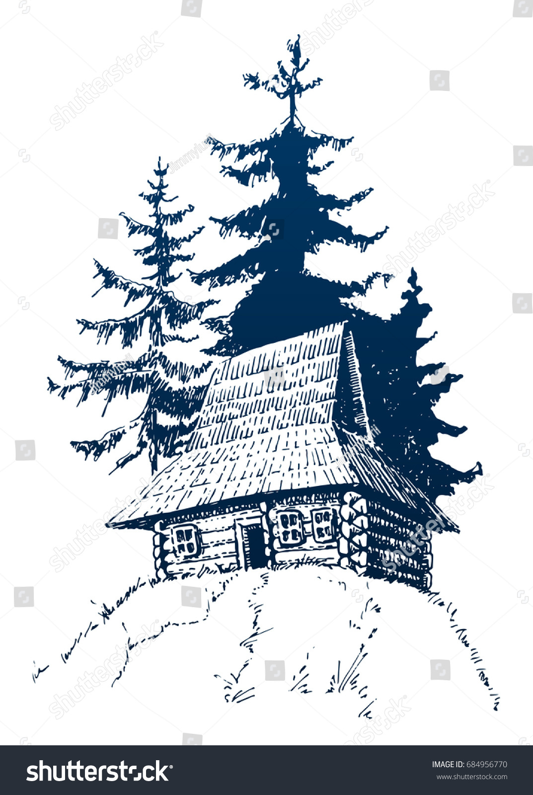 Wooden house forest sketch travel symbol stock vector 684956770 sketch travel symbol tourism hand drawn illustration in biocorpaavc Images