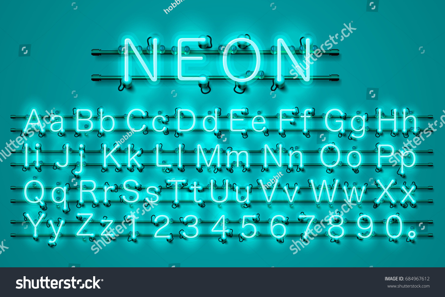 Neon city color lime green font. English alphabet and numbers sign. Vector  illustration