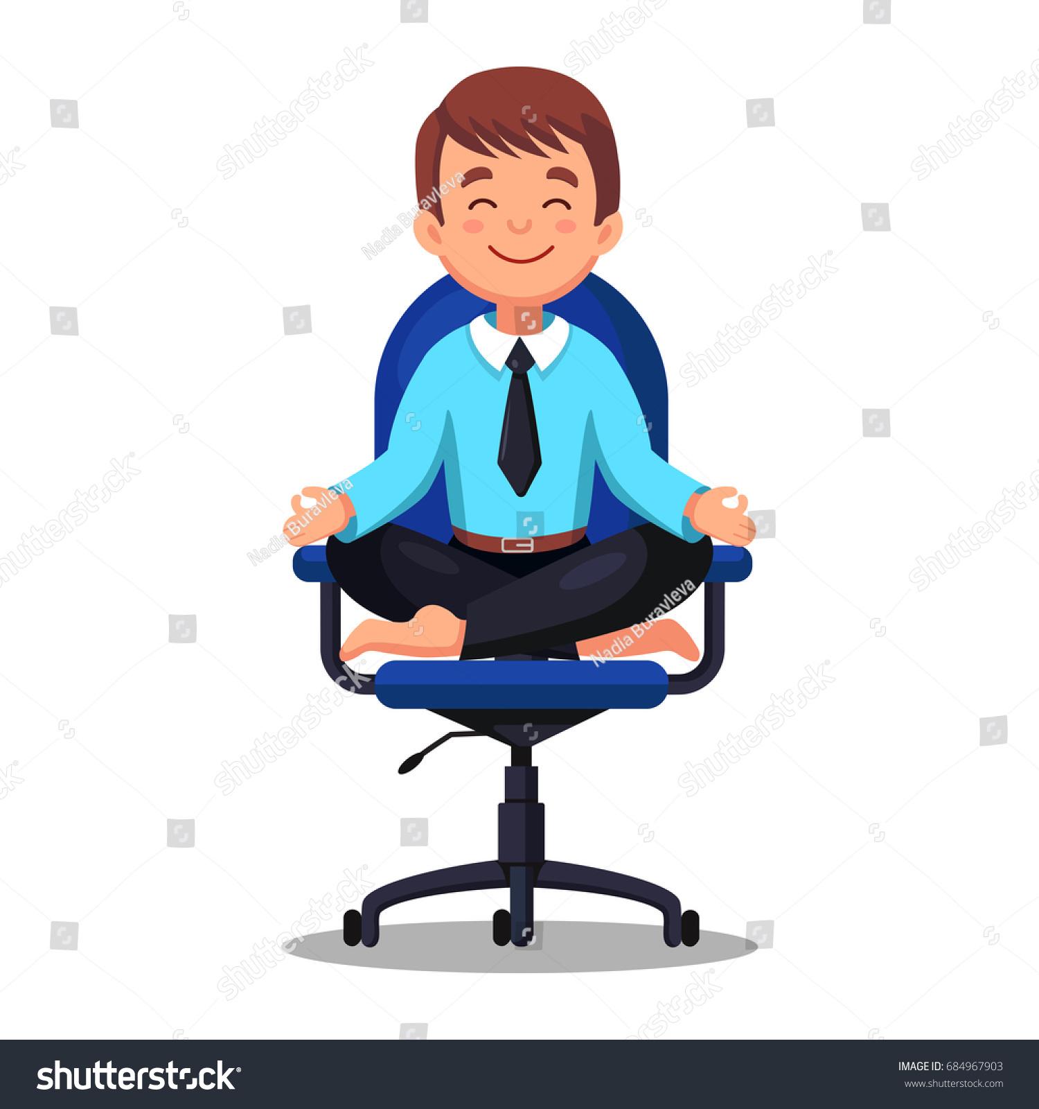 Business Man Meditating Lotus Pose Stock Vector