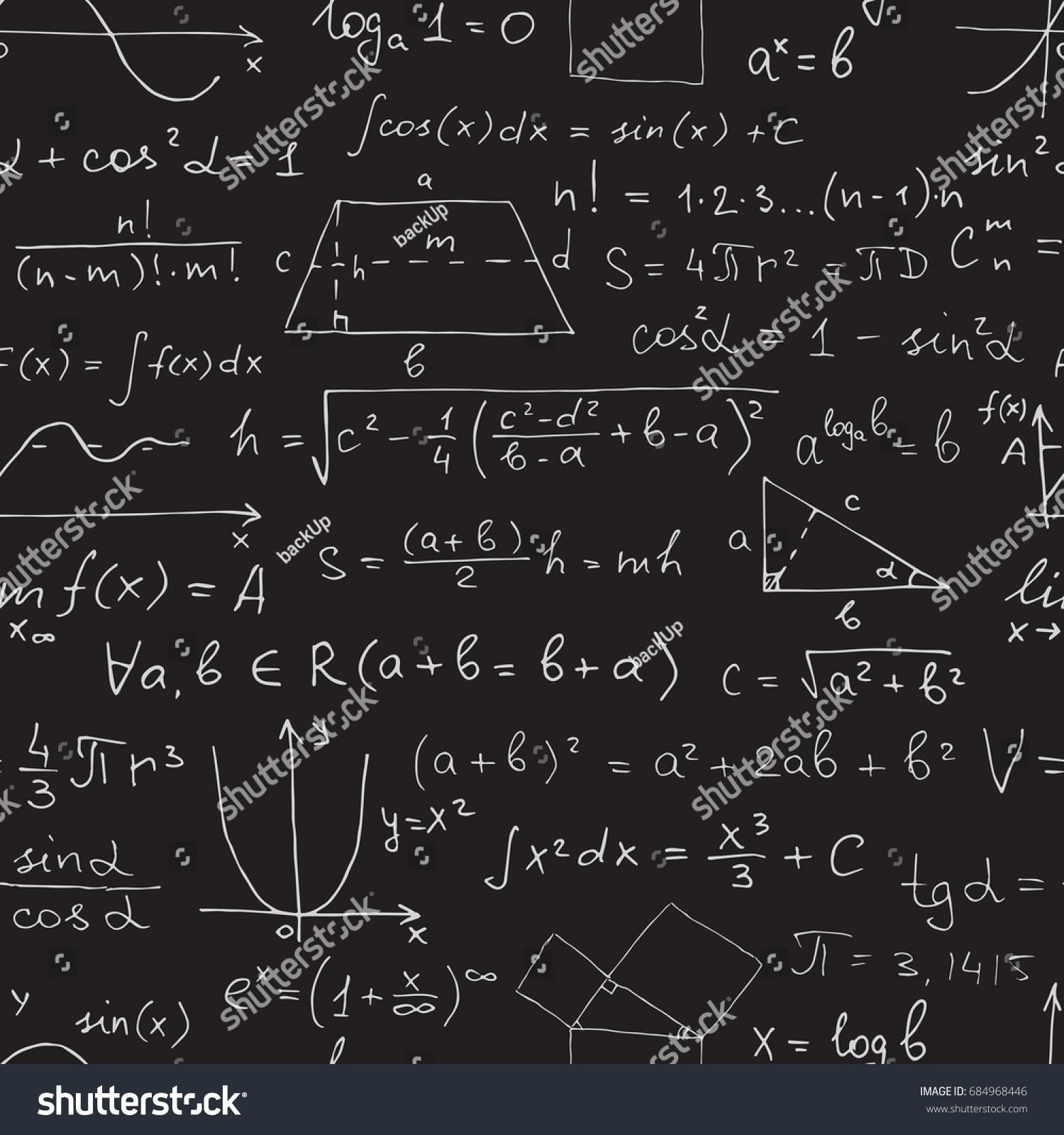 Seamless Math Pattern Chalk Mathematical Symbols Stock Illustration ...