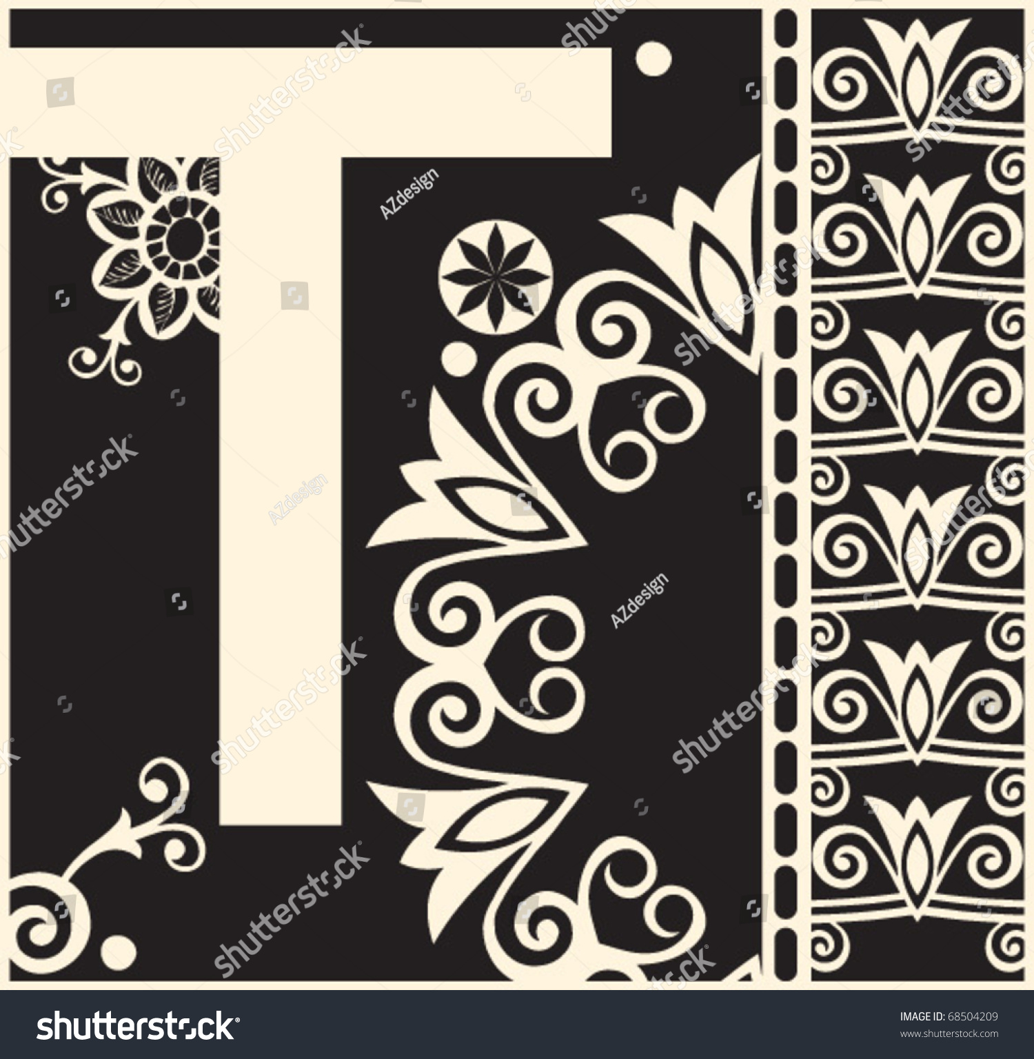 Ornamental Vector Abc, Decorative Letter T - 68504209 : Shutterstock