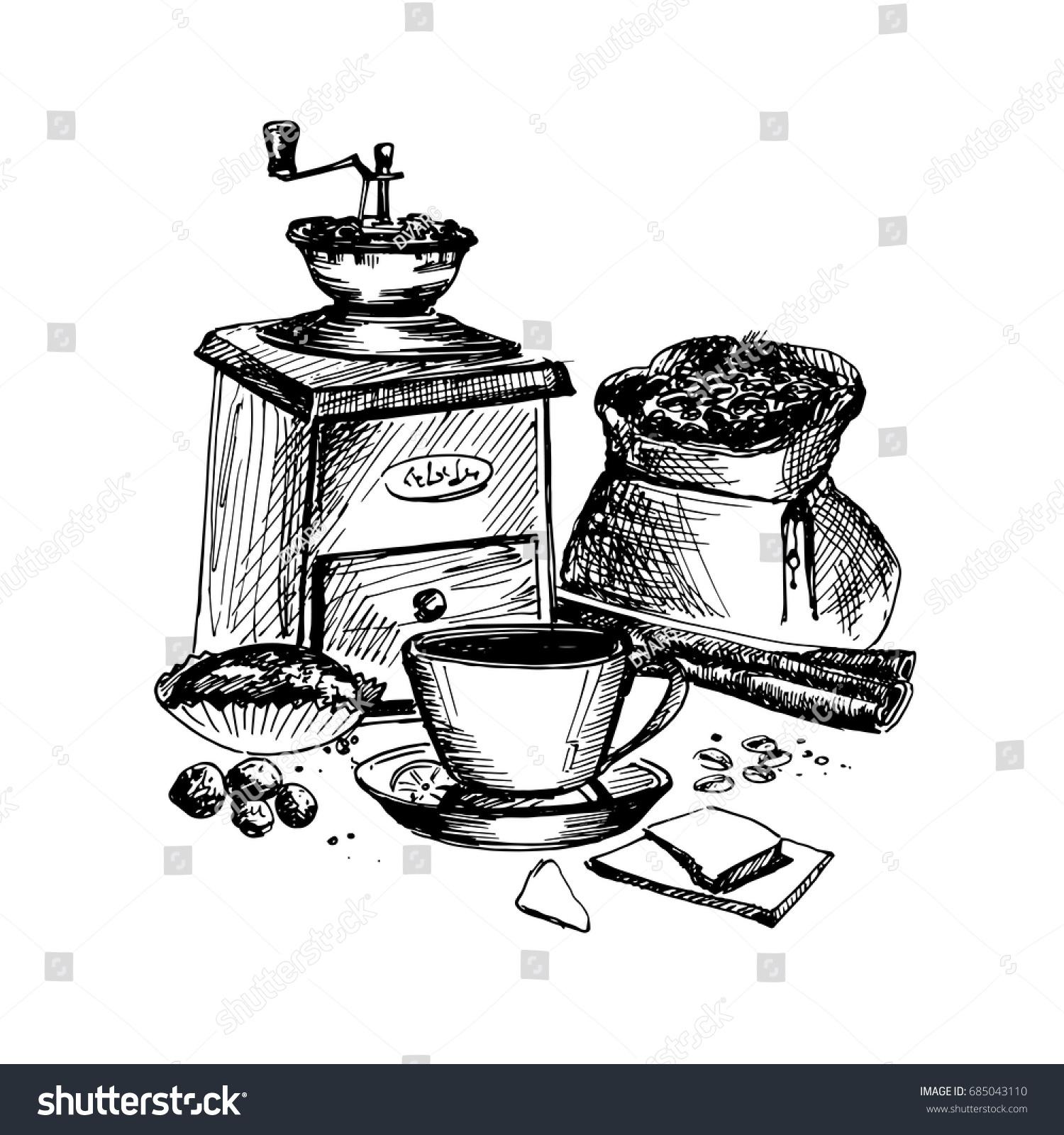 Hand Drawn Sketch Coffee Theme Vintage Stock Photo (Photo, Vector ...
