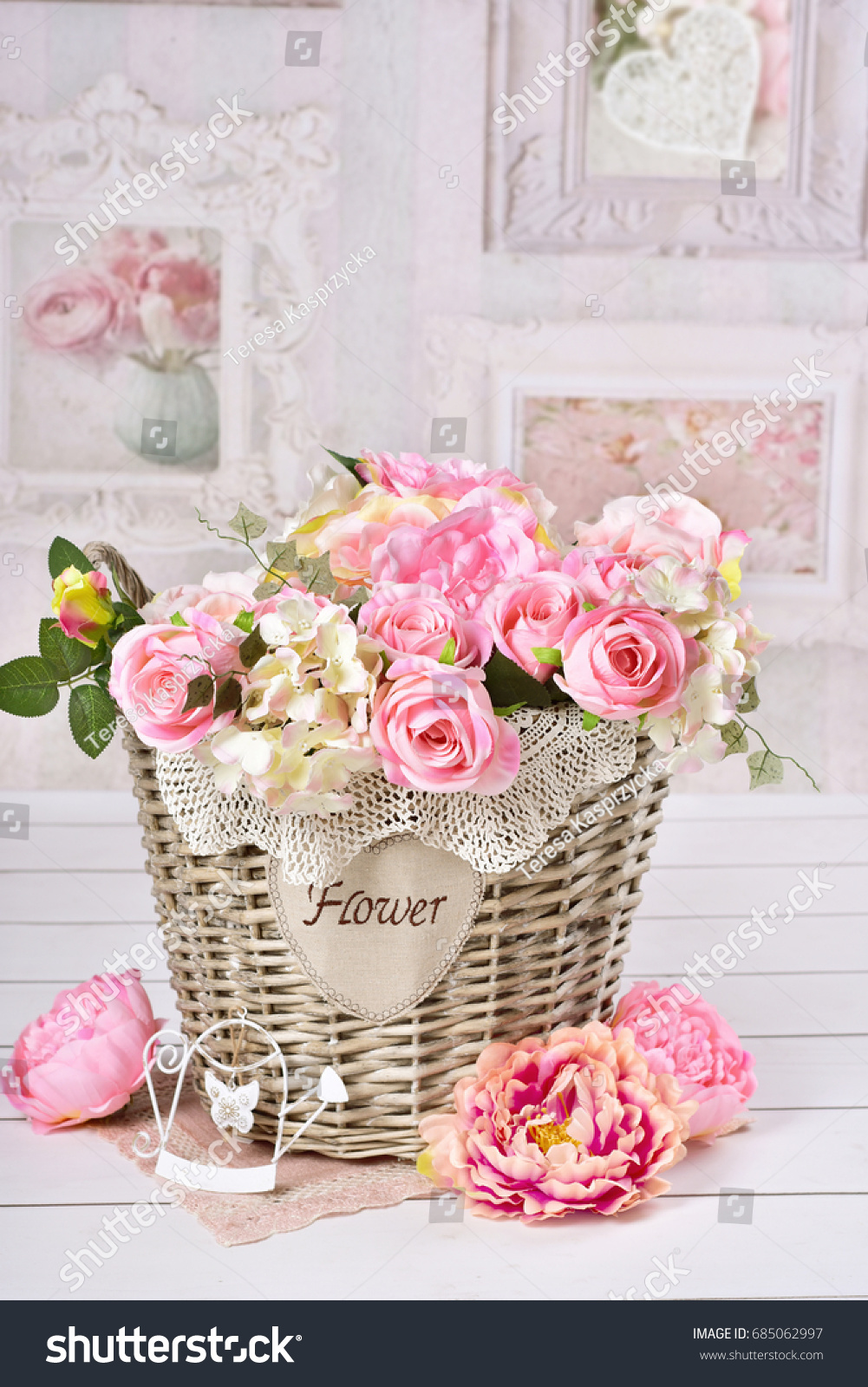 Beautiful Romantic Flower Decoration Pink Roses Stock Photo Edit
