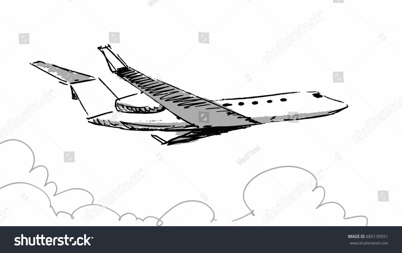 air plane sketch vector illustration line stock vector royalty free