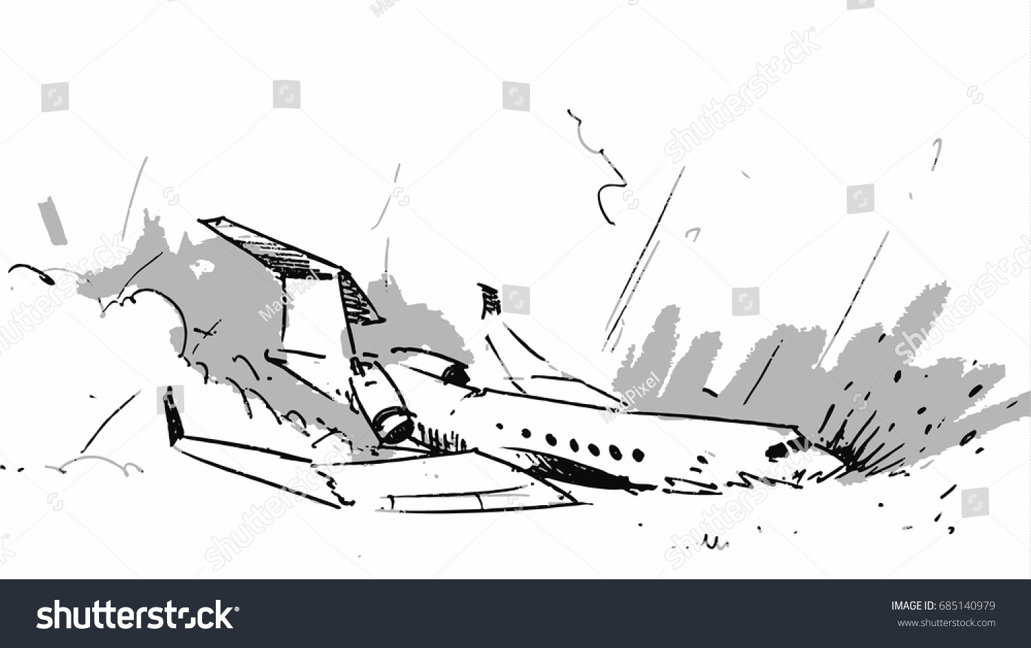 Airplane Crashed Accident Vector Sketch Illustration Stock Vector ...