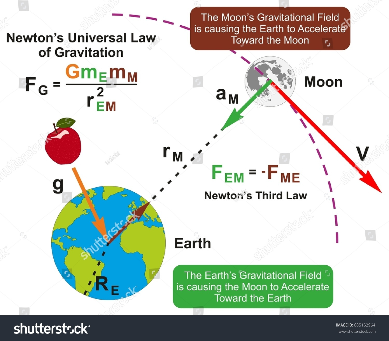 universal law gravitation infographic diagram formula stock