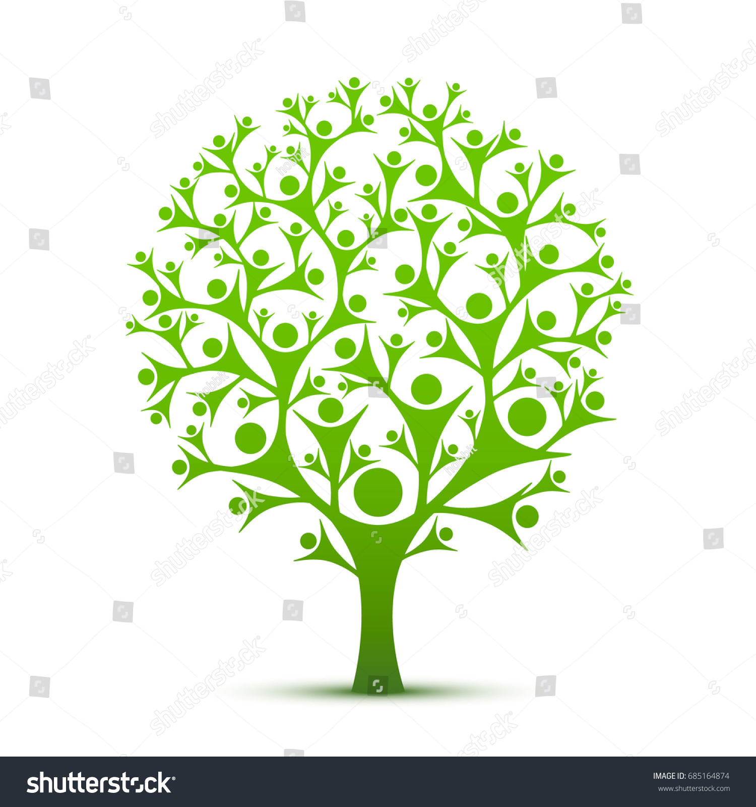People Tree Sign Color Green On Stock Vector 685164874 - Shutterstock