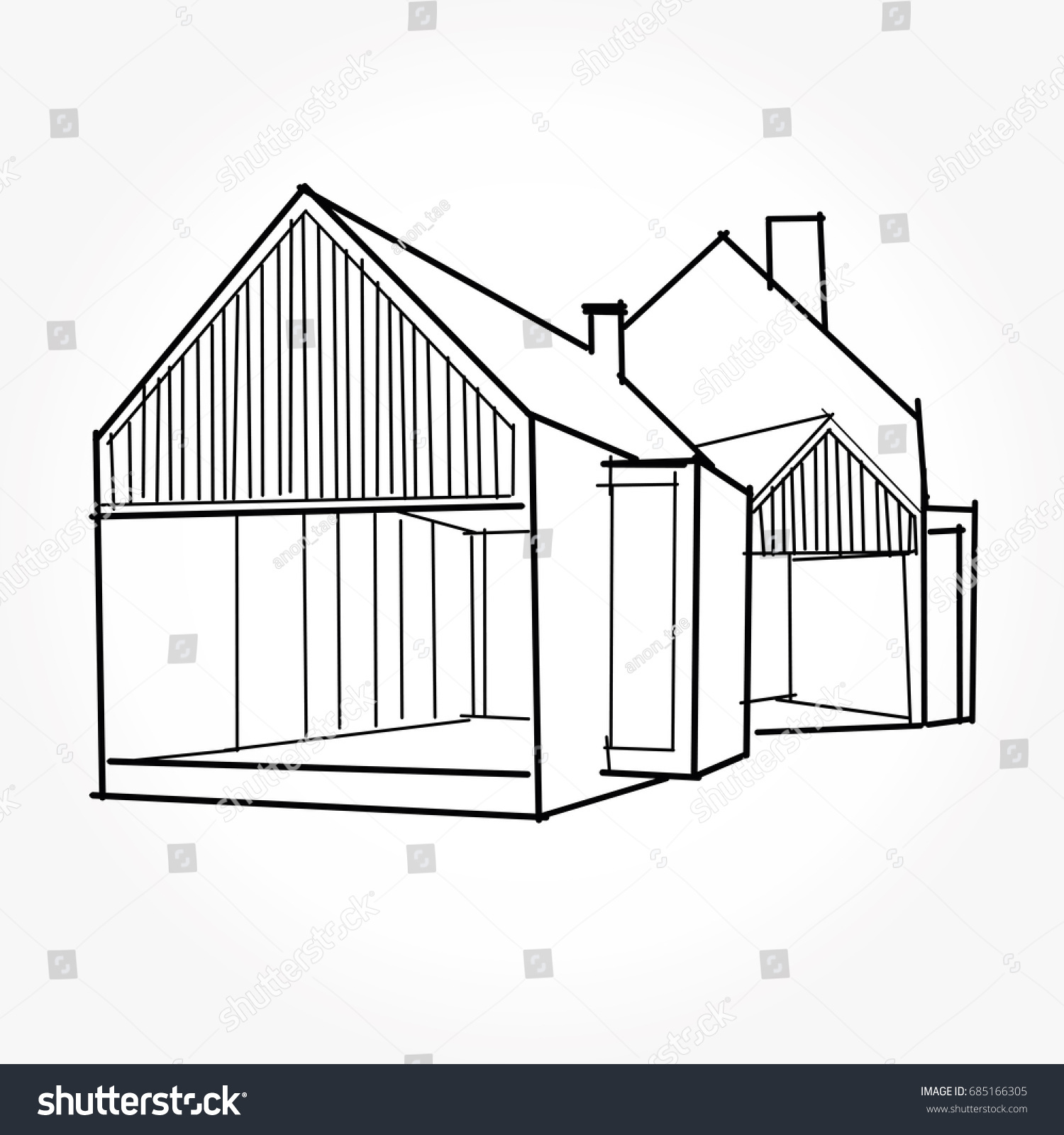 Sketch Modern House Architecture Drawing Free Stock Vector Of