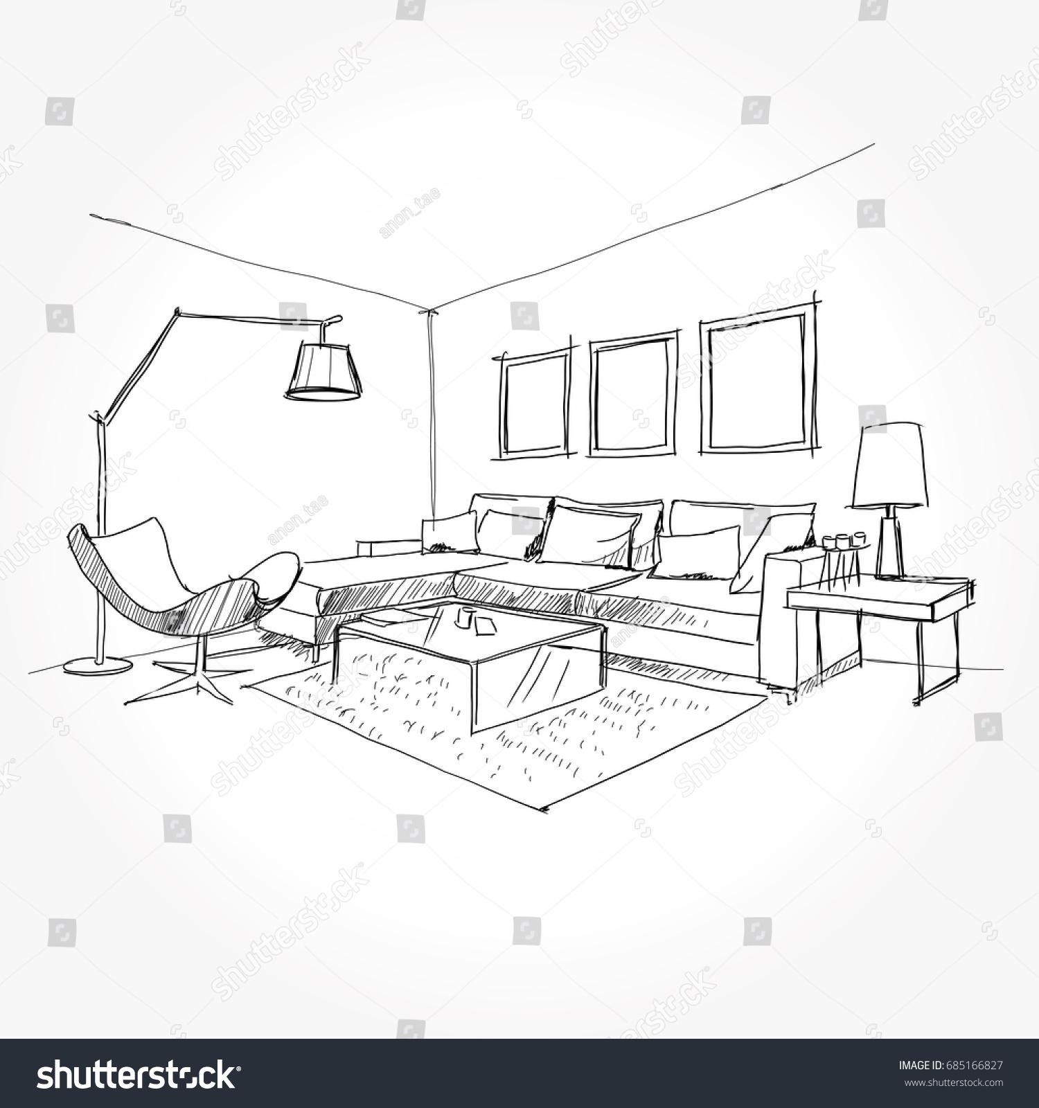 Linear Sketch Interior Living Room Plan Stock Photo (Photo, Vector ...