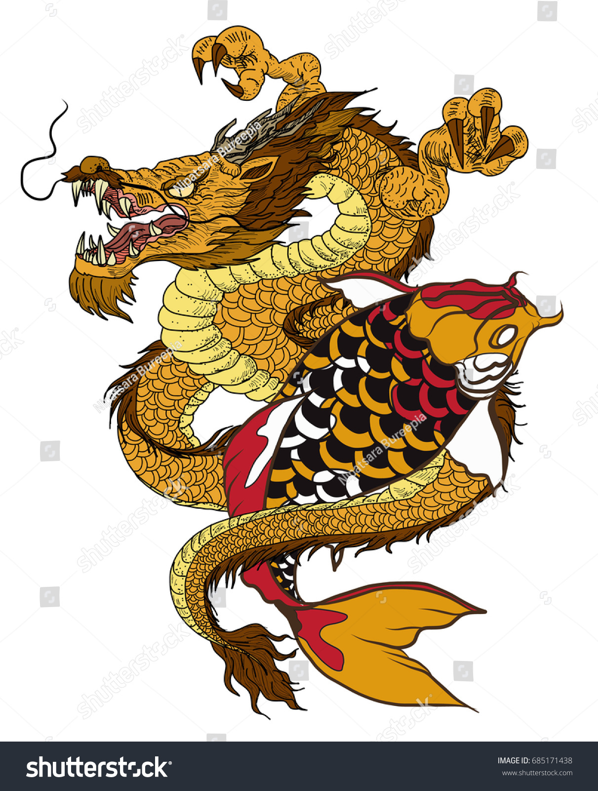 Hand drawn dragon koi fish flower stock vector 685171438 for Dragon koi fish