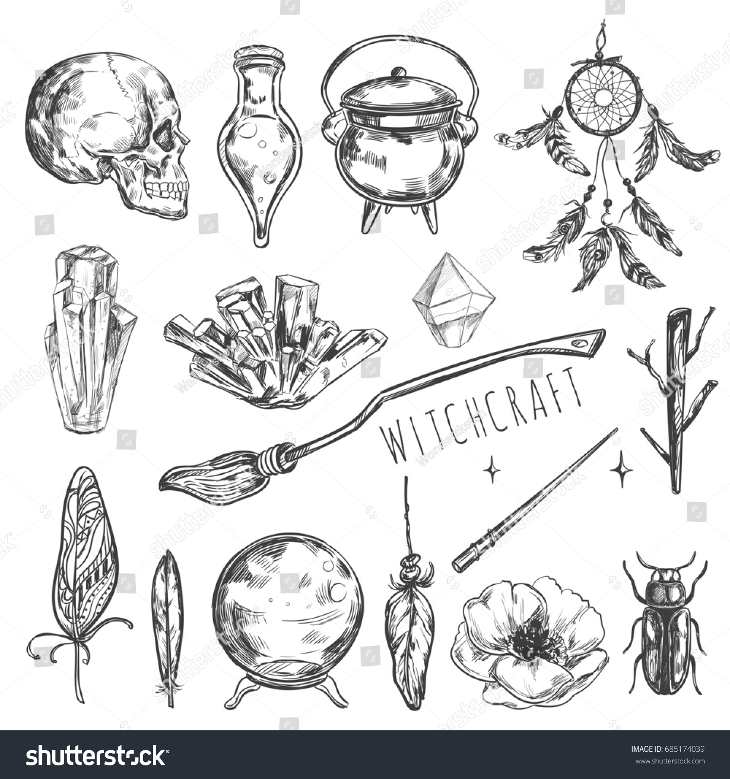 Hand drawn magic halloween set illustration stock illustration illustration wizardry witchcraft symbols isolated icons collection cartoon sorcery buycottarizona