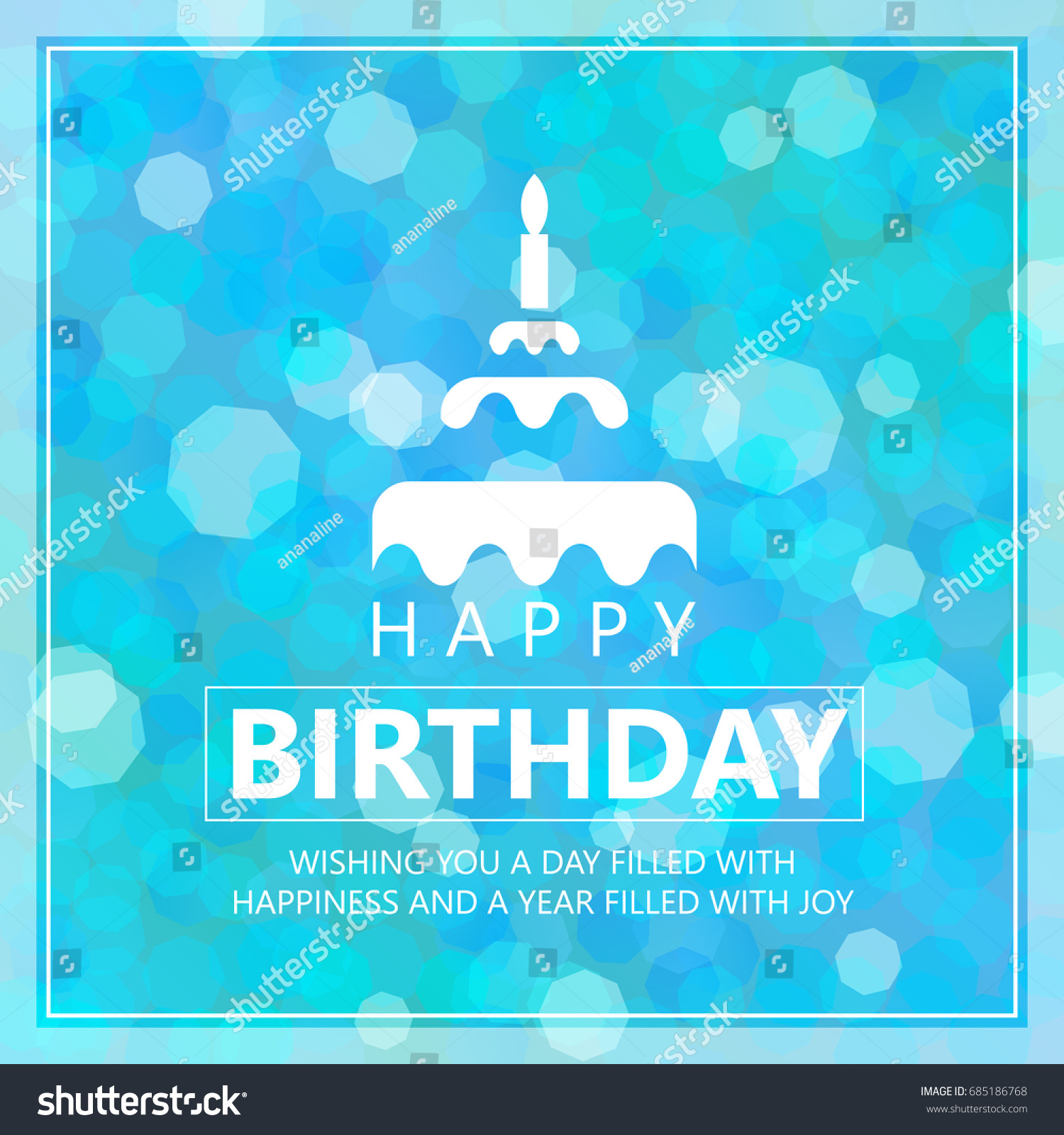 Happy Birthday Card Cake Sign Greetings Stock Vector Royalty Free