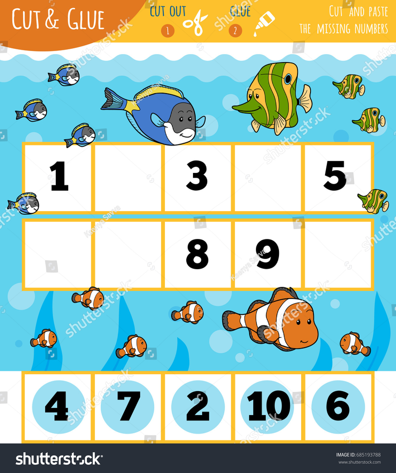 Education Numbers Game Children Fish Sea Stock Vector (Royalty Free ...