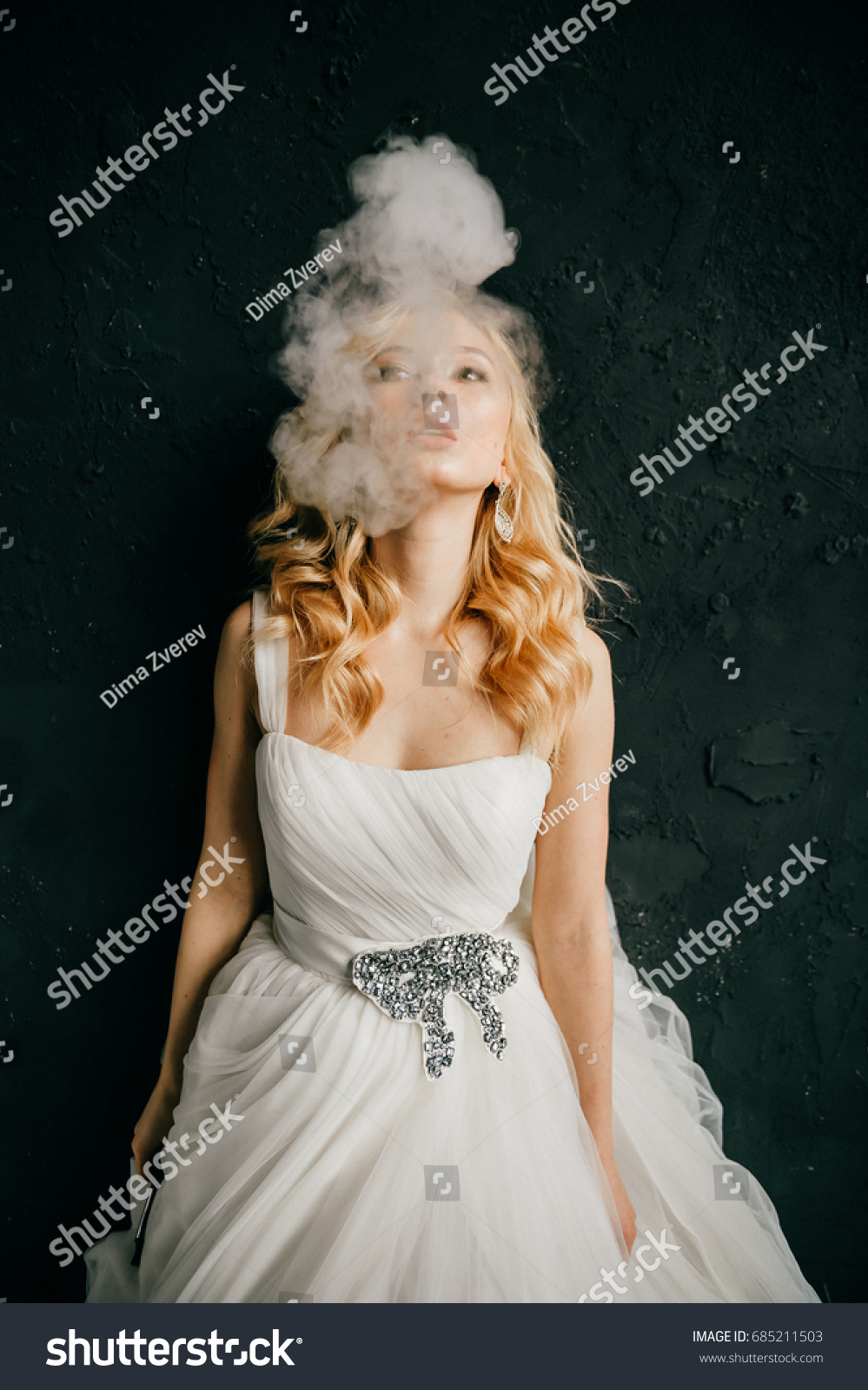 Beautiful Odd Blonde Bride With Curly Hairstyle In White Expensive Wedding Dress Smoking Electronic Cigarette: Smoking Brides Wedding Dress At Websimilar.org