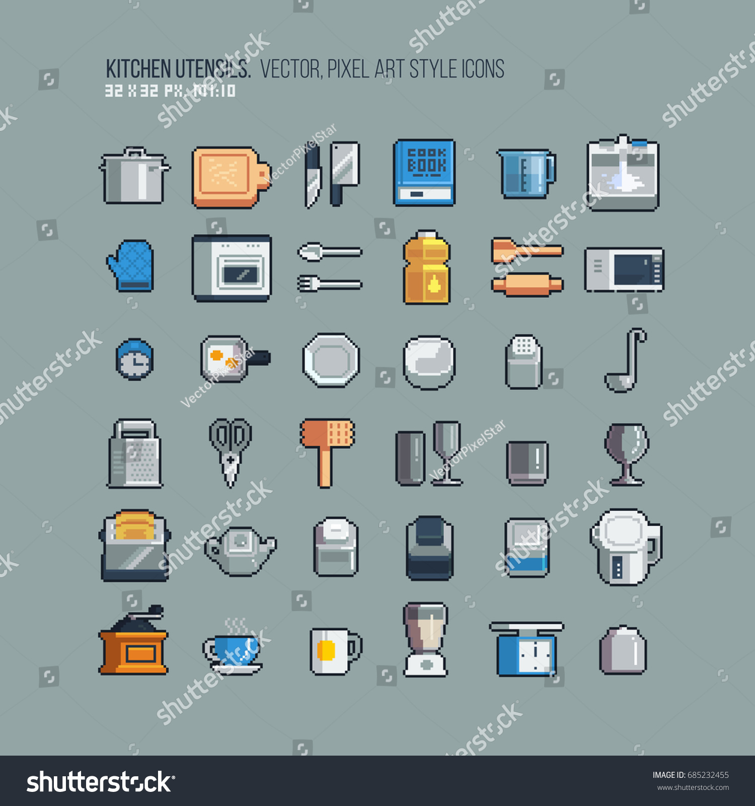 Isometric Pixel Art Kitchen Utensil 32x32 Stock Vector