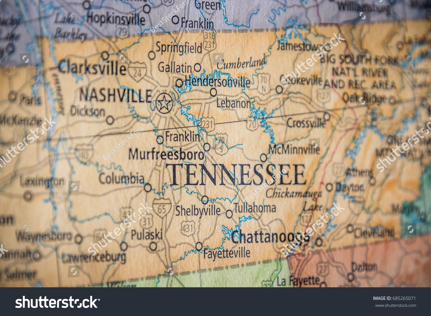 Closeup Selective Focus Tennessee State On Stock Photo (Edit Now ...