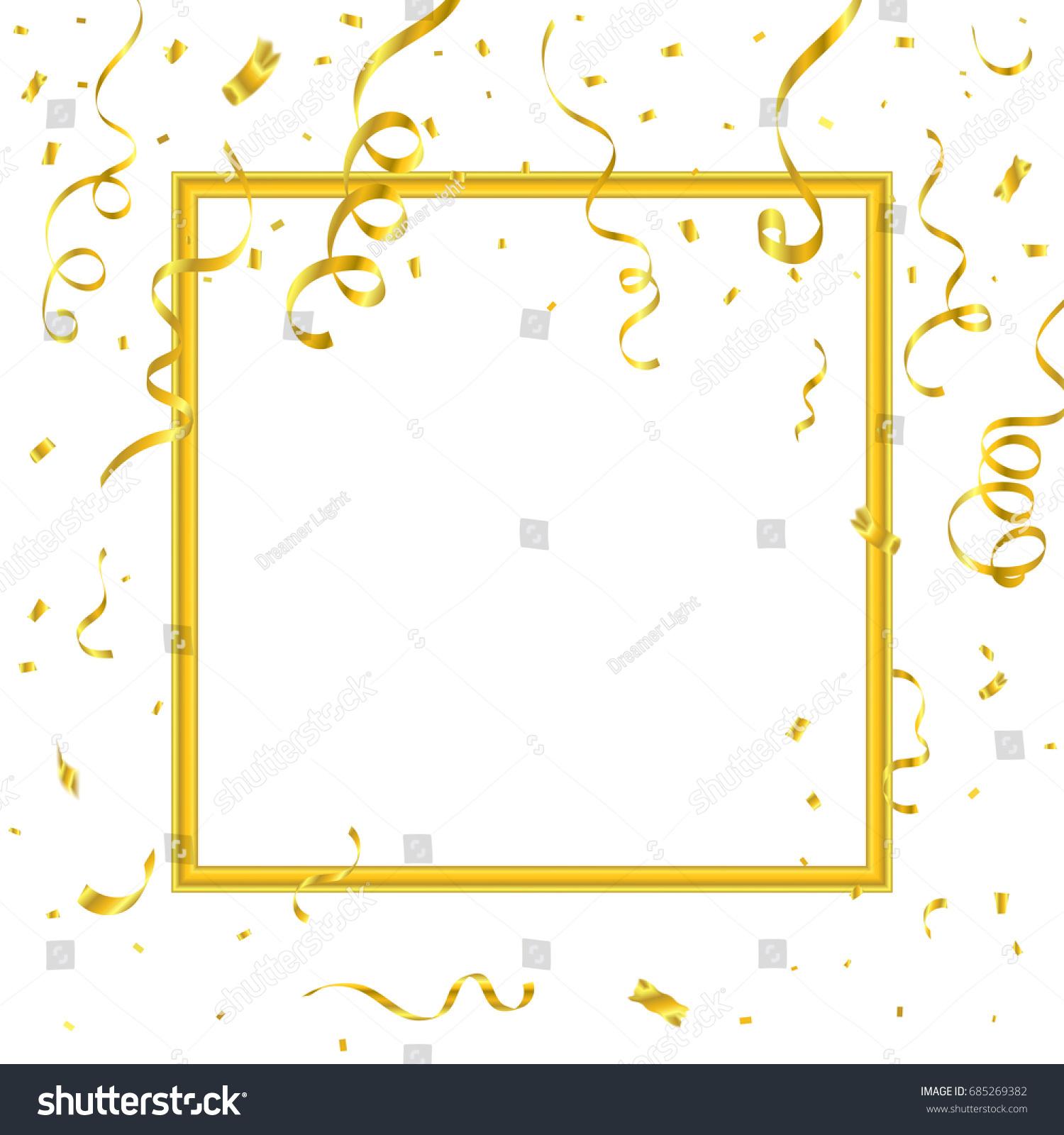 Golden Confetti Ribbons Border Frame On Stock Vector 685269382