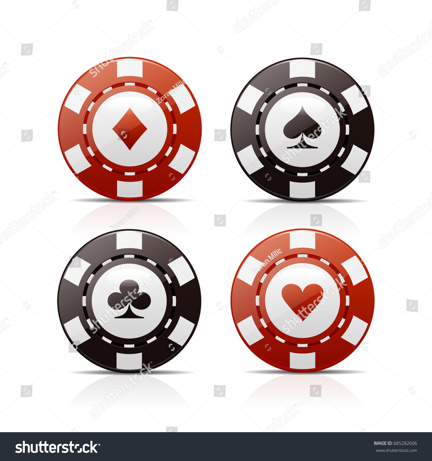 Four Poker Chips Card Suit Signs Stock Vector 685282606 - Shutterstock