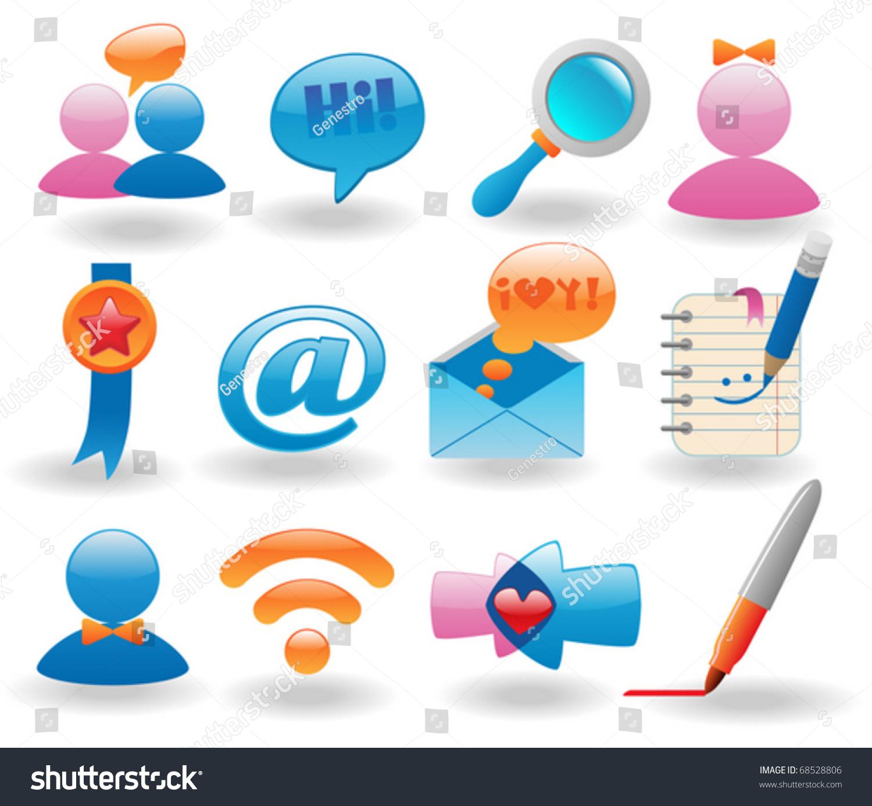 Social Media Icons Set Web Design Stock Vector Royalty Free 68528806
