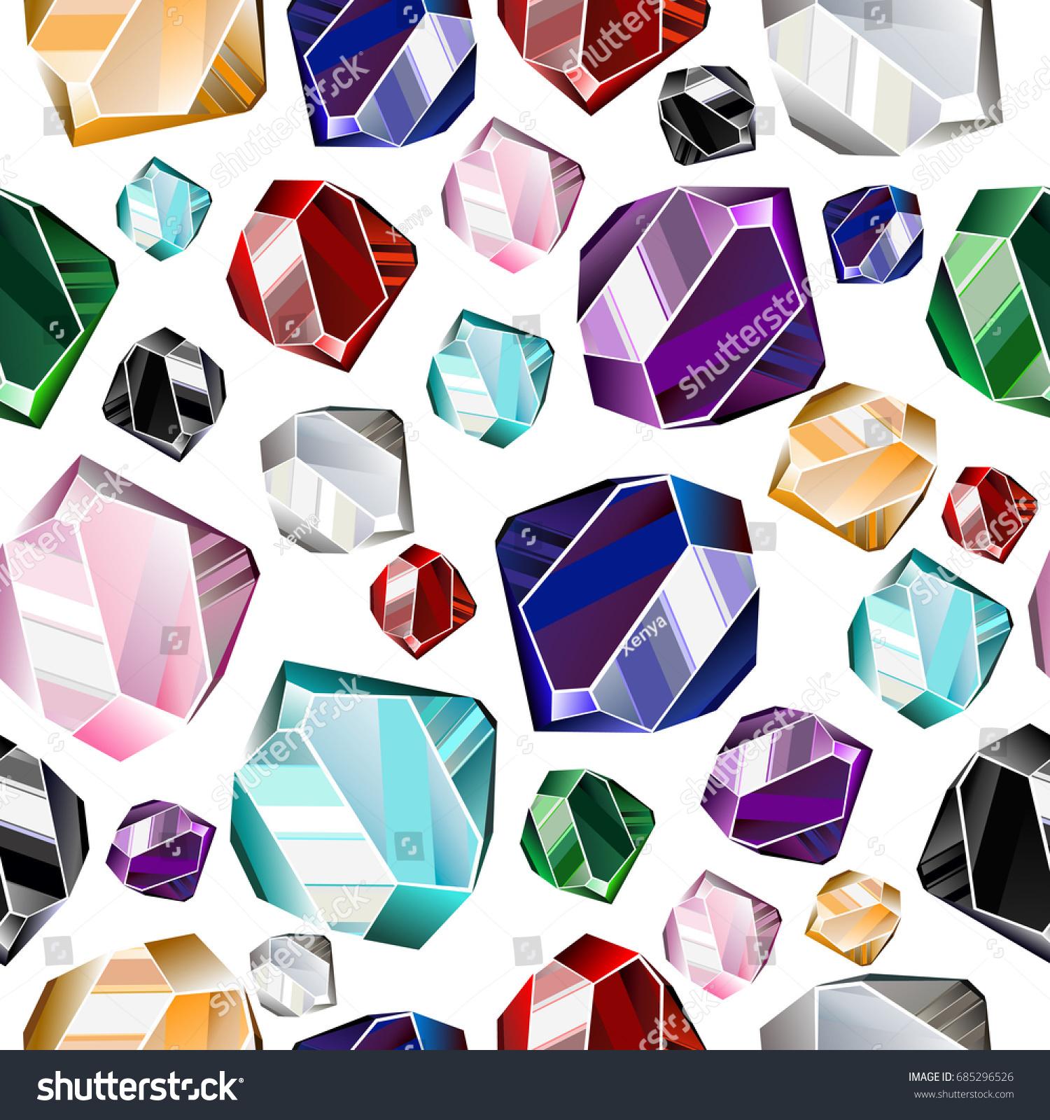 Seamless Background Colorful Precious Stones Precious Stock Vector ...